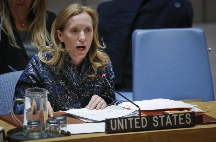 U.N. Deputy Ambassador from U.S. Kelley Currie address the United Nations Security Council meeting on Syria, Tuesday April 17, 2018 at U.N. headquarters. (AP Photo/Bebeto Matthews)