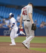 Boston Red Sox starting pitcher Chris Sale walks off the mound after giving up a two-run home run to Toronto Blue Jays' Danny Jansen in the fourth inning of a baseball game in Toronto, Wednesday, July 3, 2019. (Fred Thornhill/The Canadian Press via AP)