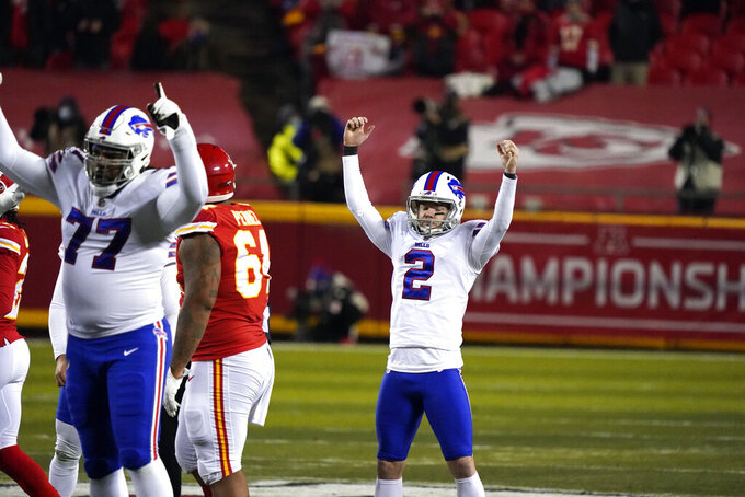 Buffalo Bills place kicker Tyler Bass celebrates after kicking a 51-yard field goal during the first half of the AFC championship NFL football game against the Kansas City Chiefs, Sunday, Jan. 24, 2021, in Kansas City, Mo. (AP Photo/Jeff Roberson)