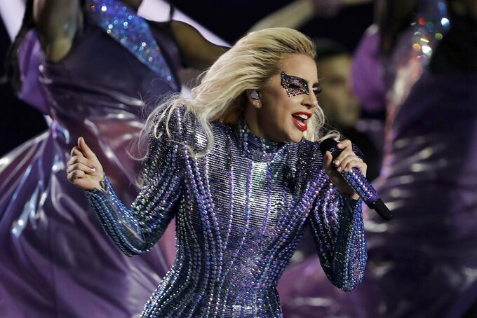 FILE - In this Feb. 5, 2017 file photo, singer Lady Gaga performs during the halftime show of the NFL Super Bowl 51 football game between the New England Patriots and the Atlanta Falcons, in Houston. Lady Gaga will perform at AT&T TV Super Saturday Night in Miami on Feb. 1, held a day before Super Bowl 54. (AP Photo/Darron Cummings, File)