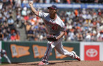 Washington Nationals pitcher Joe Ross throws to a San Francisco Giants batter during the second inning of a baseball game in San Francisco, Wednesday, Aug. 7, 2019. (AP Photo/Jeff Chiu)