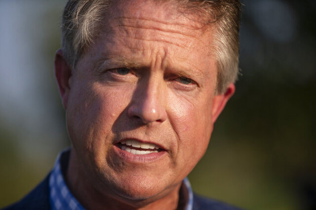 FILE - In this Aug. 4, 2020, file photo Republican congressman Roger Marshall of Kansas' 1st congressional district, speaks to the media at his election night party at Rosewood Winery near Pawnee Rock, Kan. Marshall is running for Kansas' open Senate seat. (Travis Heying/The Wichita Eagle via AP, File)