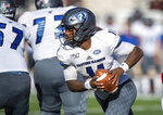 Eastern Illinois quarterback Johnathan Brantley (11) scrambles in the backfield during the second half of an NCAA college football game against Indiana, Saturday, Sept. 7, 2019, in Bloomington, Ind. Indiana won 52-0. (AP Photo/Doug McSchooler)