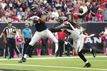 Houston Texans tight end Darren Fells (87) catches a pass for a touchdown over Atlanta Falcons outside linebacker De'Vondre Campbell (59) during the second half of an NFL football game Sunday, Oct. 6, 2019, in Houston. (AP Photo/Michael Wyke)