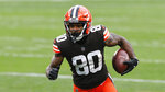FILE - In this Nov. 1, 2020, file photo, Cleveland Browns wide receiver Jarvis Landry plays against the Las Vegas Raiders during the second half of an NFL football game, in Cleveland. The Browns will try to earn a playoff spot without four wide receivers, including star Landry, their starting middle linebacker and his replacement due to COVID-19 protocols. But despite the six players being out, an NFL spokesman said Cleveland's game at the New York Jets will be played as scheduled on Sunday, Dec. 27. (AP Photo/Ron Schwane, File)