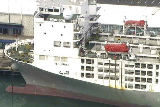 This image from a video shows a freight ship in Fremantle, Australia Tuesday, May 26, 2020. A coronavirus cluster was detected on Tuesday on the ship berthed in the Australian west coast port of Fremantle, raising questions about why local authorities weren't alerted to the danger. (AuBC/CHANNEL 7/CHANNEL 9 via AP)