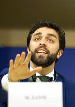 Italy's Lega party member and MEP Marco Zanni speaks during a media conference to announce the formation of a new far-right European Parliament group at the European Parliament in Brussels, Thursday, June 13, 2019. (AP Photo/Virginia Mayo)