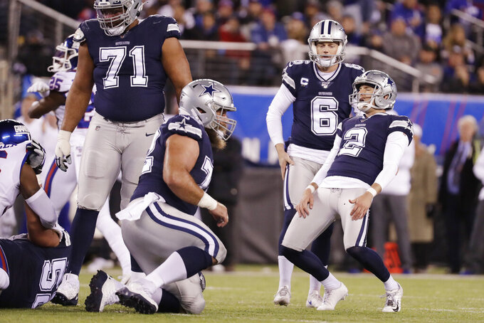 Dallas Cowboys kicker Brett Maher (2) reacts after missing a field goal against the New York Giants during the first quarter of an NFL football game, Monday, Nov. 4, 2019, in East Rutherford, N.J. (AP Photo/Adam Hunger)