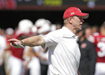 Nebraska head coach Scott Frost gestures on the sidelines during the second half of an NCAA college football game against Troy in Lincoln, Neb., Saturday, Sept. 15, 2018. Troy won 24-19. (AP Photo/Nati Harnik)