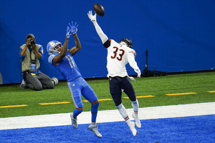 Chicago Bears cornerback Jaylon Johnson (33) breaks up a pass intended for Detroit Lions wide receiver Marvin Jones (11) in the end zone in the fourth quarter of an NFL football game in Detroit, Sunday, Sept. 13, 2020. Chicago won 27-23. (AP Photo/Paul Sancya)