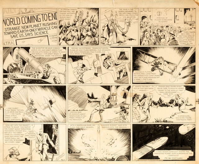 """This image released by Profiles in History shows original artwork for the """"Flash Gordon"""" comic strip that was first published in January 1934. The pencil-and-ink drawing by artist Alex Raymond will be auctioned on March 31.  (Profiles in History via AP)"""
