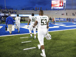 Colorado State defensive lineman Caleb Smith heads off the field after an NCAA college football game against Air Force Thursday, Nov. 22, 2018, at Air Force Academy, Colo. (AP Photo/David Zalubowski)