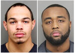 These Tuesday Dec. 10, 2019 arrest photos released by the Lincoln, Neb., Police Dept, show Andre Hunt, left, and Katerian LeGrone. The two former Nebraska football players were arrested Tuesday, Dec. 10. 2019, after a reported off-campus sexual assault in Lincoln, Neb. LeGrone was arrested on suspicion of first-degree sexual assault, and Hunt was charged with aiding and abetting first-degree sexual assault. The charges stem from a reported assault on Aug. 25. (Lincoln Police Department via AP)