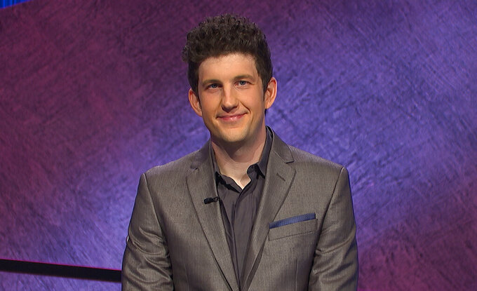 """This image provided by Jeopardy! Productions Inc. shows contestant Matt Amodio. Amid the ruckus over the new host of """"Jeopardy!"""", Amodio has methodically scooped up resounding victories and a place in the quiz show's hall of fame. The Yale University doctoral candidate in computer science had landed high on the list of all-time top """"Jeopardy!"""" winners with more than $500,000 in prize money. (Jeopardy! Productions Inc. via AP)"""