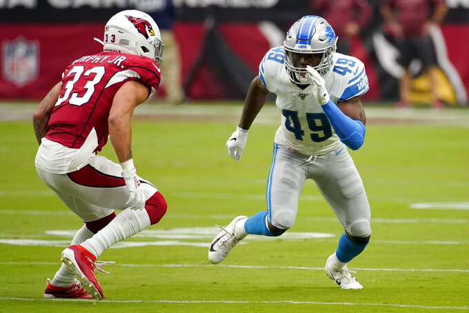 Detroit Lions defensive back C.J. Moore (49) lines up against Arizona Cardinals cornerback Byron Murphy (33) defends during the first half of an NFL football game, Sunday, Sept. 8, 2019, in Glendale, Ariz. (AP Photo/Rick Scuteri)