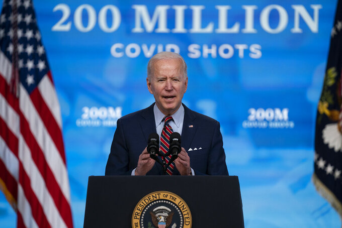 President Joe Biden speaks about COVID-19 vaccinations at the White House, Wednesday, April 21, 2021, in Washington. (AP Photo/Evan Vucci)