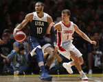 Canada's Kevin Pangos, right, hooks his arm through United States' Jayson Tatum's arm during their exhibition basketball game in Sydney, Australia, Monday, Aug. 26, 2019. (AP Photo/Rick Rycroft)