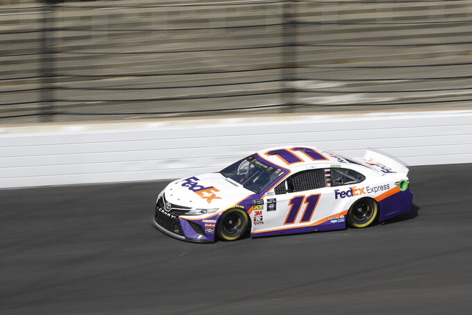 Monster Energy NASCAR Cup Series driver Denny Hamlin drives into turn one during practice for the NASCAR Brickyard 400 auto race at the Indianapolis Motor Speedway, Saturday, Sept. 7, 2019 in Indianapolis. (AP Photo/Darron Cummings)