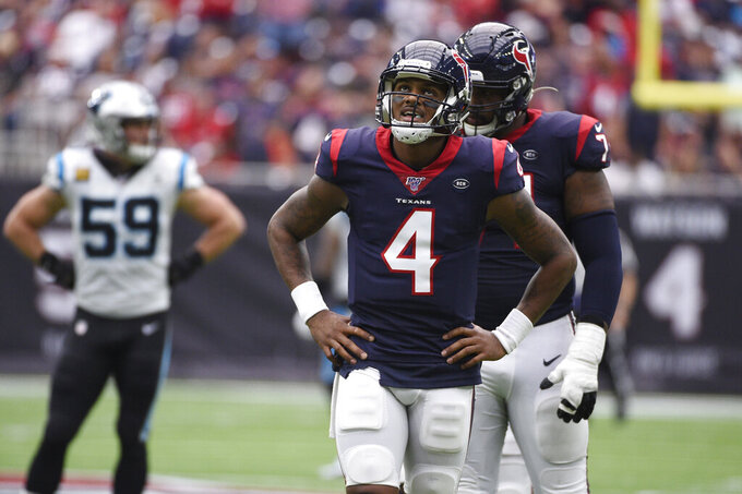 Houston Texans quarterback Deshaun Watson (4) reacts to a play during the first half of an NFL football game against the Carolina Panthers Sunday, Sept. 29, 2019, in Houston. (AP Photo/Eric Christian Smith)