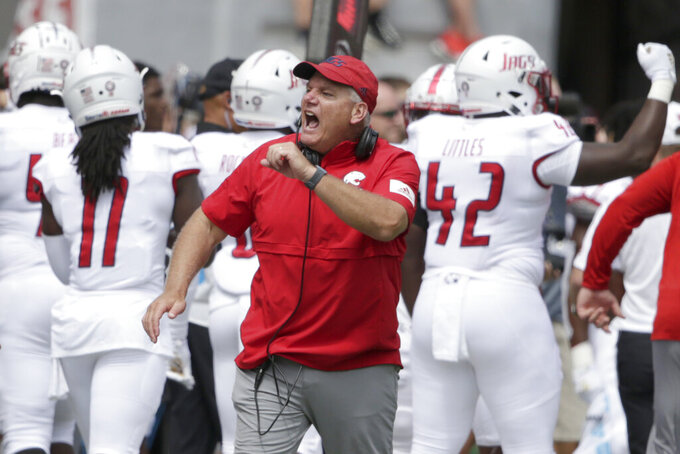 South Alabama head coach Steve Campbell reacts after defensive lineman Jeffery Whatley sacked Nebraska quarterback Adrian Martinez during the second half of an NCAA college football game in Lincoln, Neb., Saturday, Aug. 31, 2019. Nebraska won 35-21. (AP Photo/Nati Harnik)