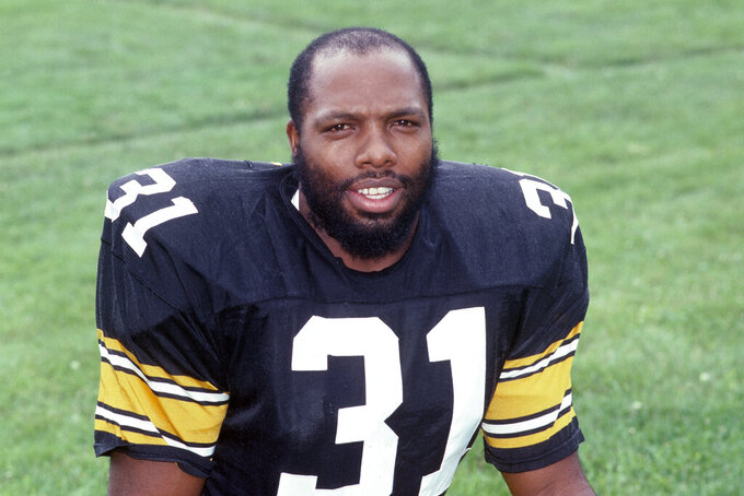 FILE - This is a 1985 file photo showing Pittsburgh Steelers safety Donnie Shell. Donnie Shell knew he was ahead of his time. It's why the Pittsburgh Steelers safety never worried about whether he'd get into the Hall of Fame. His long wait ended this week, when he got the call more than 30 years after playing his final game. (AP Photo/File)