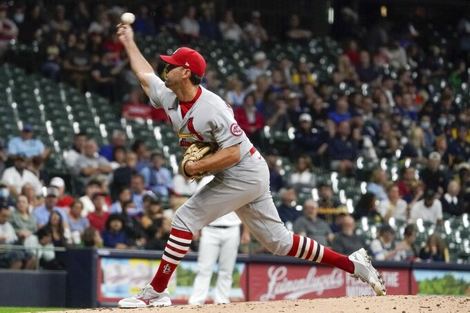 St. Louis Cardinals starting pitcher Adam Wainwright throws during the first inning of a baseball game against the Milwaukee Brewers Friday, Sept. 3, 2021, in Milwaukee. (AP Photo/Morry Gash)