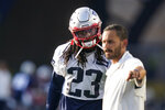 New England Patriots safety Kyle Dugger (23) listens to instructions during NFL football practice Friday, Aug. 6, 2021, in Foxborough, Mass. (AP Photo/Elise Amendola)