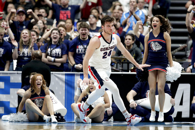 Gonzaga forward Corey Kispert celebrates after scoring against Florida State during the second half an NCAA men's college basketball tournament West Region semifinal Thursday, March 28, 2019, in Anaheim, Calif. (AP Photo/Jae C. Hong)