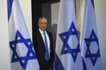 Blue and White party leader Benny Gantz arrives to address media in Tel Aviv,Israel. Wednesday, Nov. 20, 2019. Gantz has failed to form a new government by a deadline, dashing his hopes of toppling the long-time Israeli prime minister Netanyahu and pushing the country closer toward an unprecedented third election in less than a year. (AP Photo/Oded Balilty)