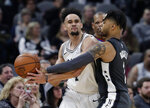 San Antonio Spurs guard Derrick White, left, is pressured by Brooklyn Nets guard D'Angelo Russell (1) during the second half of an NBA basketball game in San Antonio, Thursday, Jan. 31, 2019. San Antonio won 117-114. (AP Photo/Eric Gay)