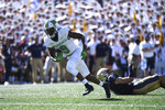Marshall wide receiver Talik Keaton (9) runs the ball after a reception during the first half of an NCAA college football game against Navy, Saturday, Sept. 4, 2021, in Annapolis, Md. (AP Photo/Terrance Williams)