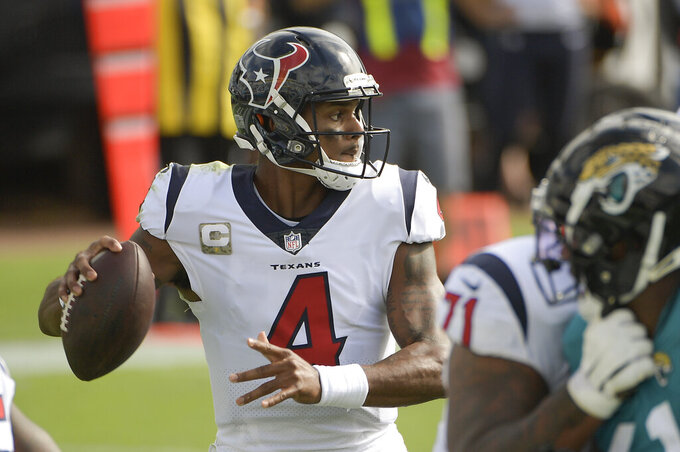 Houston Texans quarterback Deshaun Watson (4) looks for a receiver during the first half of an NFL football game against the Jacksonville Jaguars, Sunday, Nov. 8, 2020, in Jacksonville, Fla. (AP Photo/Phelan M. Ebenhack)