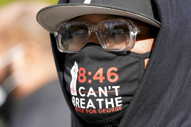 Terrence Floyd, brother of George Floyd, waits to speak at a Get Out the Vote Rally outside the Brooklyn Museum, Tuesday, Nov. 3, 2020, in New York. (AP Photo/Frank Franklin II)