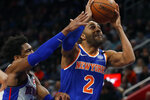 New York Knicks guard Wayne Ellington (2) attempts to shoot as Detroit Pistons guard Langston Galloway defends during the first half of an NBA basketball game, Saturday, Feb. 8, 2020, in Detroit. (AP Photo/Carlos Osorio)