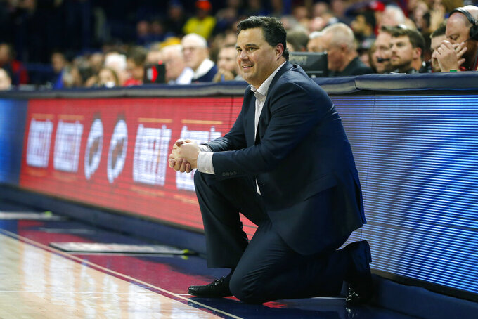 Arizona head coach Sean Miller reacts after a foul call against South Dakota State in the second half during an NCAA college basketball game, Thursday, Nov. 21, 2019, in Tucson, Ariz. (AP Photo/Rick Scuteri)