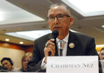 Rickie Nez, resources committee chairman of the Navajo Nation Council, testifies at a a field hearing of a U.S. House Subcommittee on Energy and Mineral Resources in Santa Fe, N.M., on Monday, April 15, 2019, about the affects of air pollution on sacred Native American cultural sites. Leaders of the Navajo Nation and Pueblo tribes expressed frustration at the hearing with federal oversight of oil and gas leases on public holdings near ancient Native American cultural sites and endorsed legislation to restrict natural gas development around Chaco Culture National Historic Park. (AP Photo/Morgan Lee)
