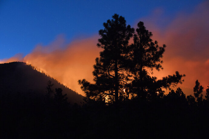 FILE - In this July 21, 2019, file photo, a wildfire burns through the Coconino National Forest, north of Flagstaff, Ariz. Officials say the wildfire likely was started by a spark from a piece of heavy equipment striking a rock during a forest-thinning project. Coconino National Forest officials say an excavator working on steep slopes hit a rock, creating a heat source that stayed underground for more than half a day. Warm and windy conditions turned it into a small fire that spread on July 21. (Ben Shanahan/Arizona Daily Sun via AP, File)