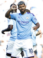 Manchester City's Sergio Aguero celebrates after scoring his sides second goal during the English Premier League soccer match between Manchester City and Watford at Etihad stadium in Manchester, England, Saturday, Sept. 21, 2019. (AP Photo/Rui Vieira)