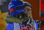 United States' Mikaela Shiffrin congratulates Slovakia's Petra Vlhova in the finish area of the women's giant slalom, at the alpine ski World Championships in Are, Sweden, Thursday, Feb. 14, 2019. Vlhova won the race as Shiffrin finished in third place. (AP Photo/Alessandro Trovati)