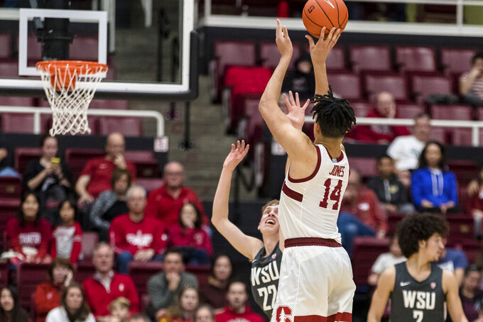 Stanford forward Spencer Jones (14) shoots against Washington State during the second half of an NCAA college basketball game Saturday, Jan. 11, 2020, in Stanford, Calif. (AP Photo/John Hefti)