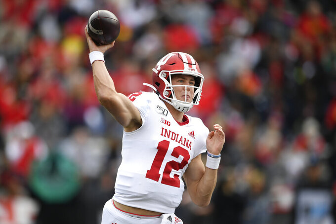 Indiana quarterback Peyton Ramsey (12) passes the ball during the first half of an NCAA college football game against Maryland, Saturday, Oct. 19, 2019, in College Park, Md. (AP Photo/Nick Wass)