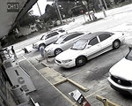 FILE - In this Thursday, July 19, 2018 file image taken from surveillance video released by the Pinellas County Sheriff's Office, Markeis McGlockton, far left, is shot by Michael Drejka during an altercation in the parking lot of a convenience store in Clearwater, Fla. Drejka, of Florida, who told detectives that he was irritated by people who illegally park in handicapped spots will be sentenced Thursday, Oct. 10, 2019, in the fatal shooting of McGlockton, an unarmed black man outside a convenience store. A jury found him guilty of manslaughter in August. (Pinellas County Sheriff's Office via AP, File)