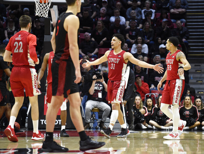 UNLV guard Marvin Coleman (31) celebrates during the second half of an NCAA college basketball game against San Diego State, Saturday, Feb. 22, 2020, in San Diego. (AP Photo/Denis Poroy)