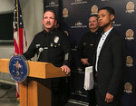 Los Angeles Police Deputy Chief John Sherman, at podium, alongside Capt. Stephen Carmona, second from right, and Cat Packer, far right, the executive director of the city's Department of Cannabis Regulation attend a news conference about cannabis enforcement in Los Angeles Wednesday, Feb. 14, 2018. Los Angeles has issued licenses to nearly 100 cannabis retailers but police estimate there are at least two-to-three times that number operating illegally in the city. (AP Photo/Mike Balsamo)