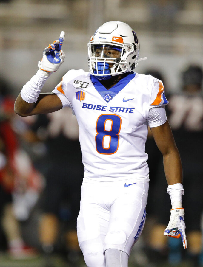 Boise State cornerback Markel Reed celebrates after a play against UNLV during the second half of an NCAA college football game Saturday, Oct. 5, 2019, in Las Vegas. (AP Photo/John Locher)