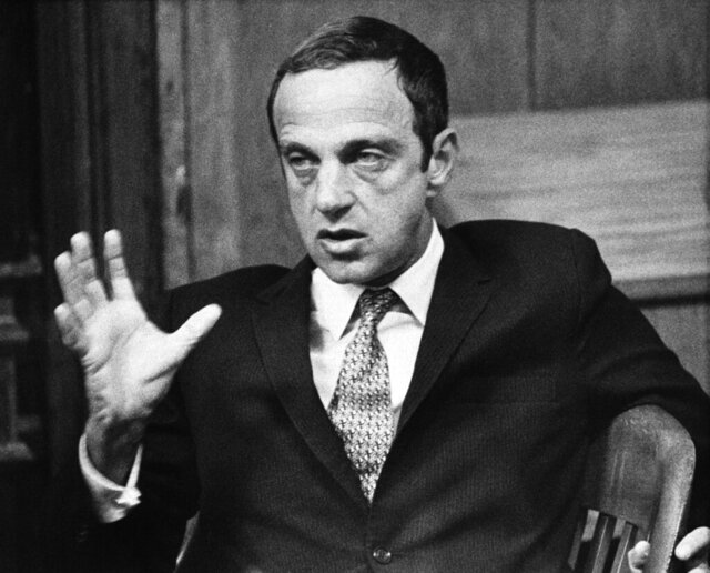"FILE - In this Sept. 30, 1971 file photo, New York lawyer Roy Cohn, one-time counsel for the late Sen. Joseph McCarthy's Communist-hunting investigation, appears in Austin, Texas. Cohn is the subject of a documentary ""Bully. Coward. Victim. The Story of Roy Cohn."