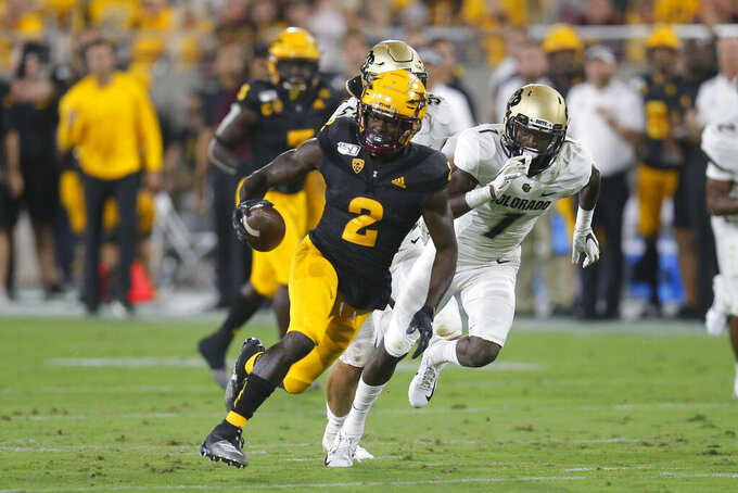 Arizona State wide receiver Brandon Aiyuk scores a touchdown against Colorado during the first half of an NCAA college football game Saturday, Sept. 21, 2019, in Tempe, Ariz. (AP Photo/Rick Scuteri)