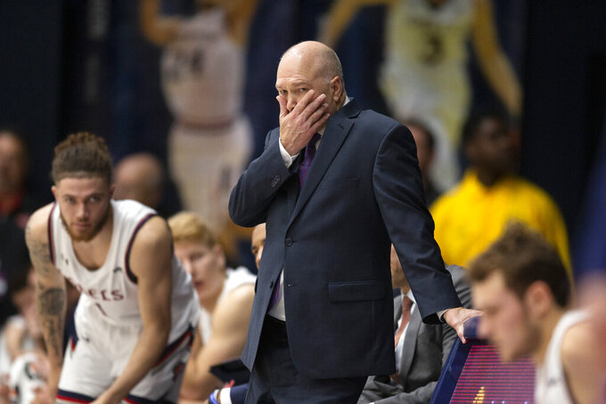 Saint Mary's head coach Randy Bennett reacts to his team's play against Winthrop during the first half of an NCAA college basketball game, Monday, Nov. 11, 2019 in Moraga, Calif. (AP Photo/D. Ross Cameron)