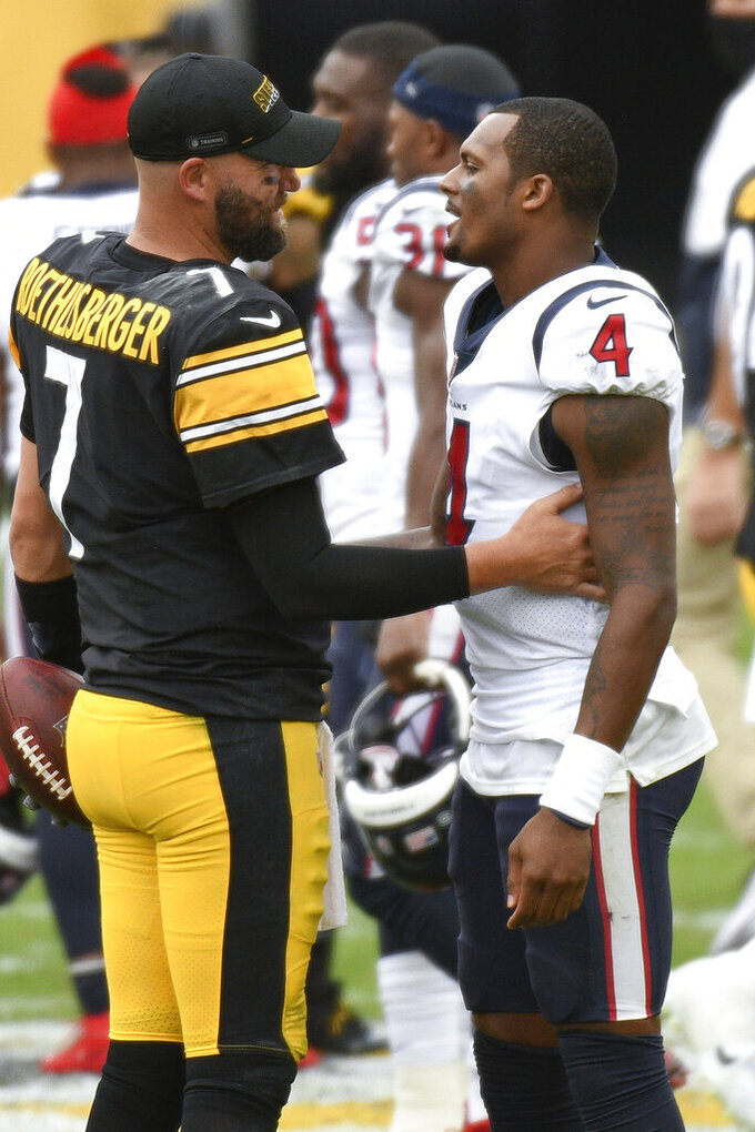 Houston Texans quarterback Deshaun Watson (4) greets Pittsburgh Steelers quarterback Ben Roethlisberger (7) after an NFL football game, Sunday, Sept. 27, 2020, in Pittsburgh. (AP Photo/Don Wright)