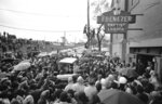 FILE - In this Tuesday, April 8, 1968 file photo, mourners gather around the casket of Dr. Martin Luther King Jr., as it arrives at the Ebenezer Baptist Church in Atlanta, where he will lie in state until his funeral. (AP Photo/TM)